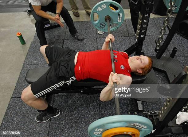 Owen Tippett does the bench press during the NHL Combine at HarborCenter on June 3 2017 in Buffalo New York