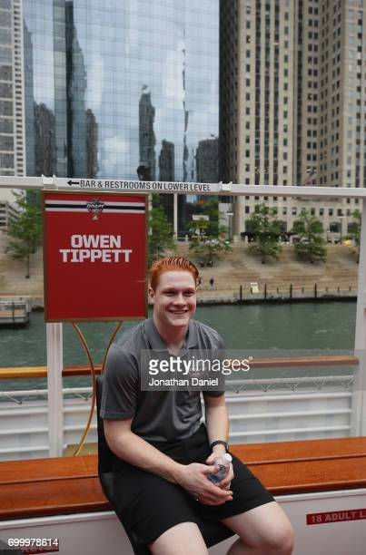Owen Tippett enjoys the ride during the 2017 NHL Draft top prospects media availabilty on the Bright Star Boat on the Chicago River on June 22 2017...
