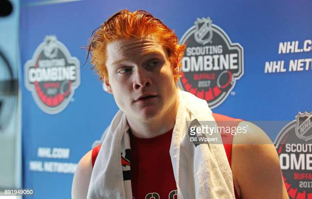 Owen Tippett is interviewd by media during the NHL Combine at HarborCenter on June 3 2017 in Buffalo New York