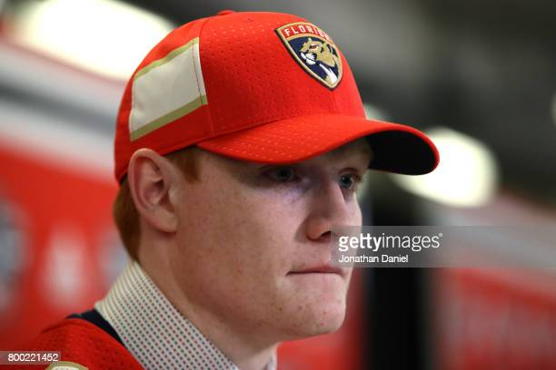 Owen Tippett is interviewed after being selected tenth overall by the Florida Panthers during the 2017 NHL Draft at the United Center on June 23 2017...