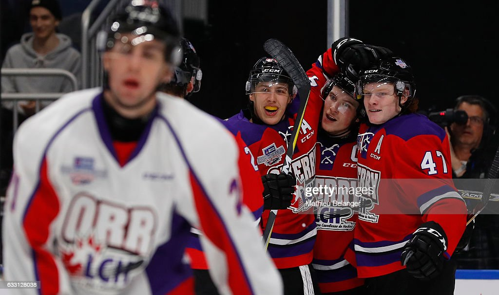 Owen Tippett #47 of Team Cherry is congratulated by teammates Maxime Comtois #44 and Nolan Patrick #19 after scoring a goal against Team Orr during the third period of their Sherwin-Williams CHL/NHL Top Prospects Game at the Videotron Center on January 30, 2017 in Quebec City, Quebec, Canada.