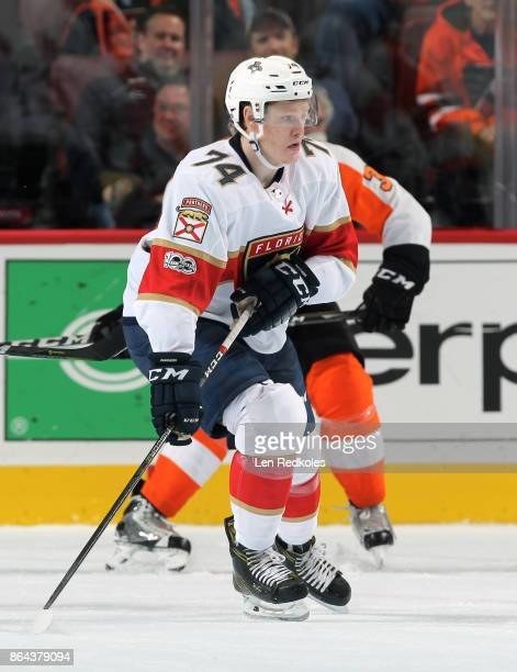 Owen Tippett of the Florida Panthers playing in his first NHL game skates against the Philadelphia Flyers on October 17 2017 at the Wells Fargo...