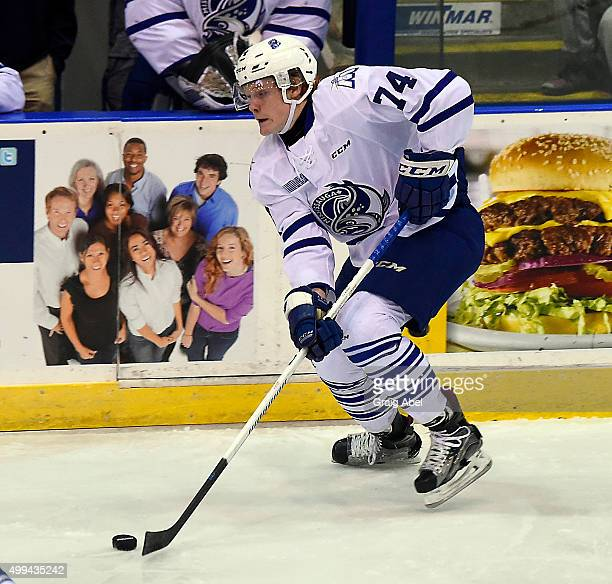 Owen Tippett of the Mississauga Steelheads controls the puck against the Erie Otters during OHL game action on November 27 2015 at the Hershey Centre...