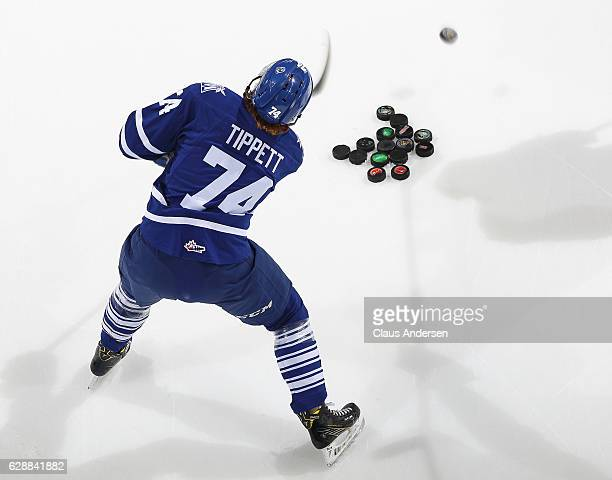 Owen Tippett of the Mississauga Steelheads fires shots in the warmup prior to playing against the London Knights in an OHL game at Budweiser Gardens...