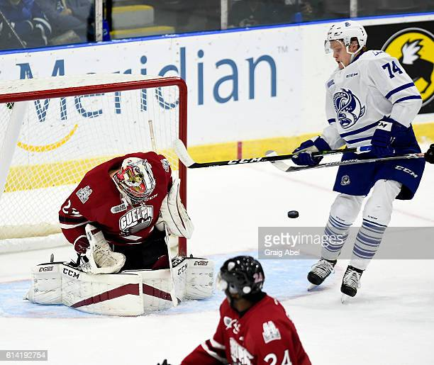 Owen Tippett of the Mississauga Steelheads looks for the rebound of of Liam Herbst of the Guelph Storm during game action at Hershey Centre on...