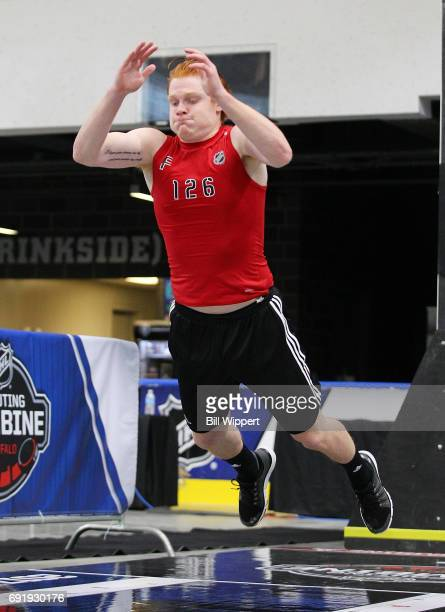 Owen Tippett performs the High Jump during the NHL Combine at HarborCenter on June 3 2017 in Buffalo New York