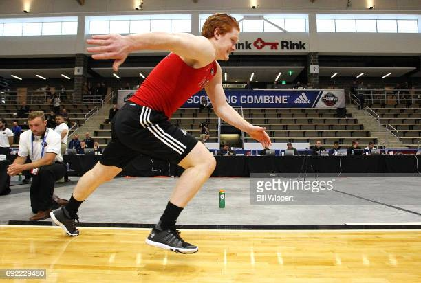 Owen Tippett performs the Pro Agility test during the NHL Combine at HarborCenter on June 3 2017 in Buffalo New York