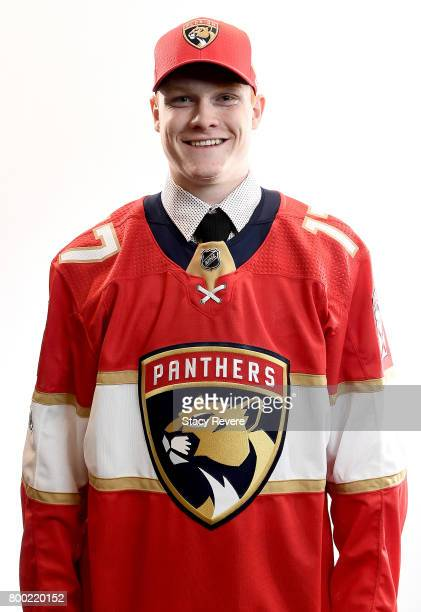 Owen Tippett poses for a portrait after being selected tenth overall by the Florida Panthers during the 2017 NHL Draft at the United Center on June...