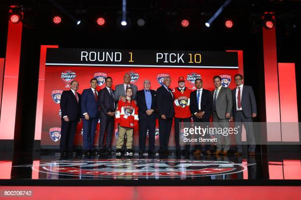 Owen Tippett poses for photos after being selected tenth overall by the Florida Panthers during the 2017 NHL Draft at the United Center on June 23...