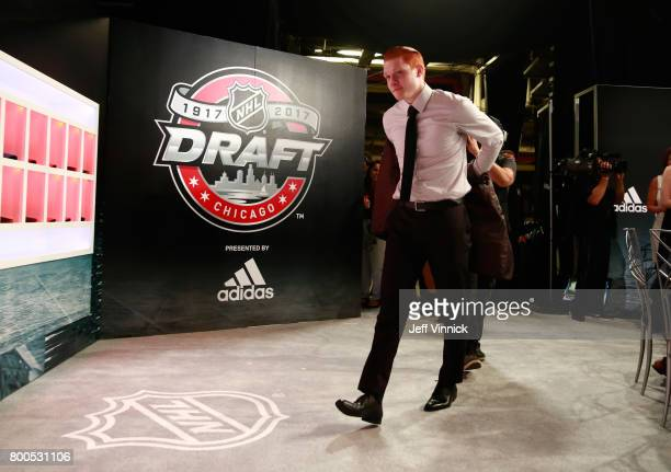 Owen Tippett reacts after being selected tenth overall by the Florida Panthers during Round One of the 2017 NHL Draft at United Center on June 23...
