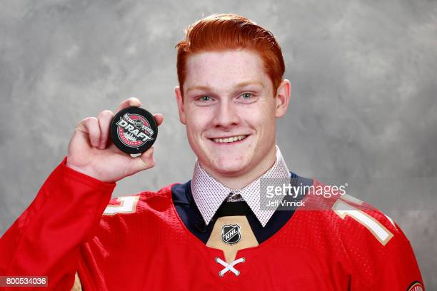 Owen Tippett tenth overall pick of the Florida Panthers poses for a portrait during Round One of the 2017 NHL Draft at United Center on June 23 2017...