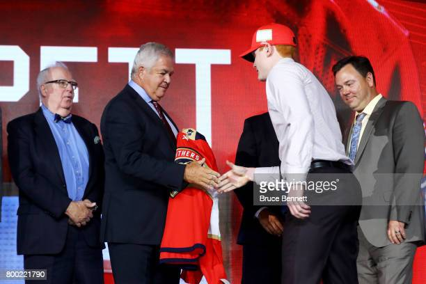 Owen Tippett walks onto the stage after being selected tenth overall by the Florida Panthers during the 2017 NHL Draft at the United Center on June...