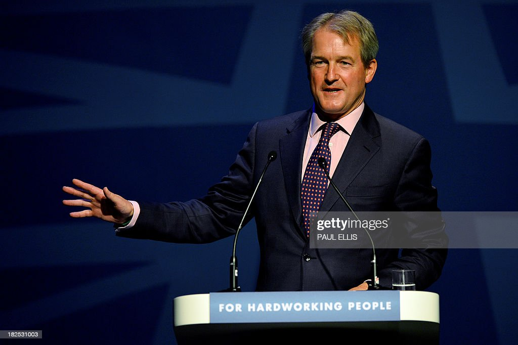 Owen William Paterson Secretary of State for Environment Food and Rural Affairs speaks during the Conservative Party Conference in Manchester north...