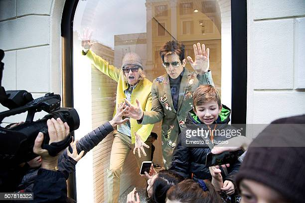 Owen Wilson and Ben Stiller attend the Stunt of the Paramount Pictures film 'Zoolander No 2' on January 31 2016 in Rome Italy