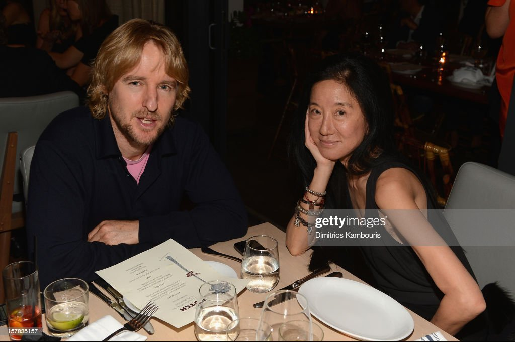 Owen Wilson and designer Vera Wang attend the Aby Rosen & Samantha Boardman dinner at The Dutch on December 6, 2012 in Miami, Florida.