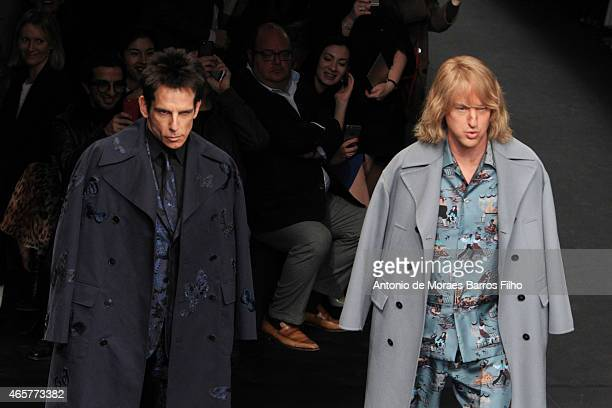 Owen Wilson Ben Stiller walk the runway during the Valentino show as part of the Paris Fashion Week Womenswear Fall/Winter 2015/2016 on March 10 2015...