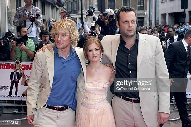 Owen Wilson Isla Fisher and Vince Vaughn during 'Wedding Crashers' London Premiere at Odeon West End in London Great Britain