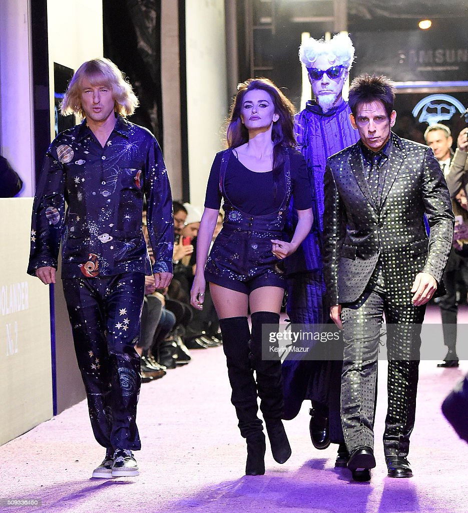 Owen Wilson Penelope Cruz Will Ferrell and Ben Stiller attend the 'Zoolander 2' World Premiere at Alice Tully Hall on February 9 2016 in New York City