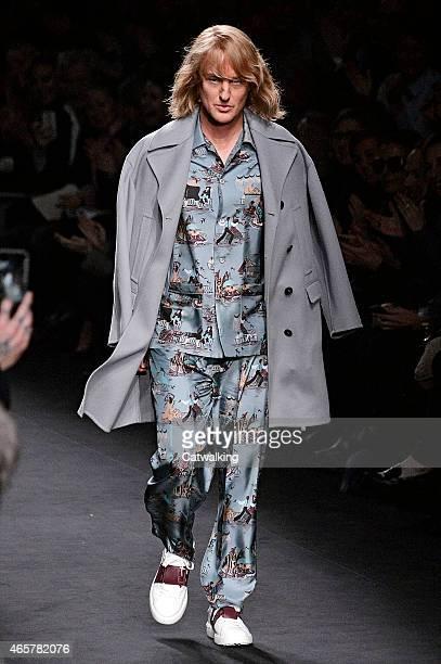 Owen Wilson walks the runway at the Valentino Autumn Winter 2015 fashion show during Paris Fashion Week on March 10 2015 in Paris France