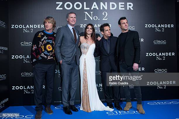 Owen Wilson Will Ferrell Penelope Cruz Ben Stiller and Justin Theroux attend the 'Zoolander No2' premiere at the Capitol Cinema on February 1 2016 in...