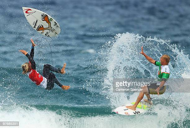 Owen Wright of Australia avoids a collision with Mick Fanning of Australia during the final of the Boost Bondi Beach SurfSho at Bondi Beach on March...