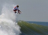 Owen Wright of Australia surfs his way to victory in the championship round of the Quiksilver Pro New York surfing tournament on September 9 2011 in...