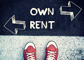 Student standing above the sign for own and rent,dilemma concept