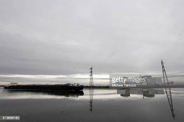 owned nuclear power plant of Fessenheim stands by the riverside of the Rhine River on March 4 2016 in Fessenheim France German media has reported...