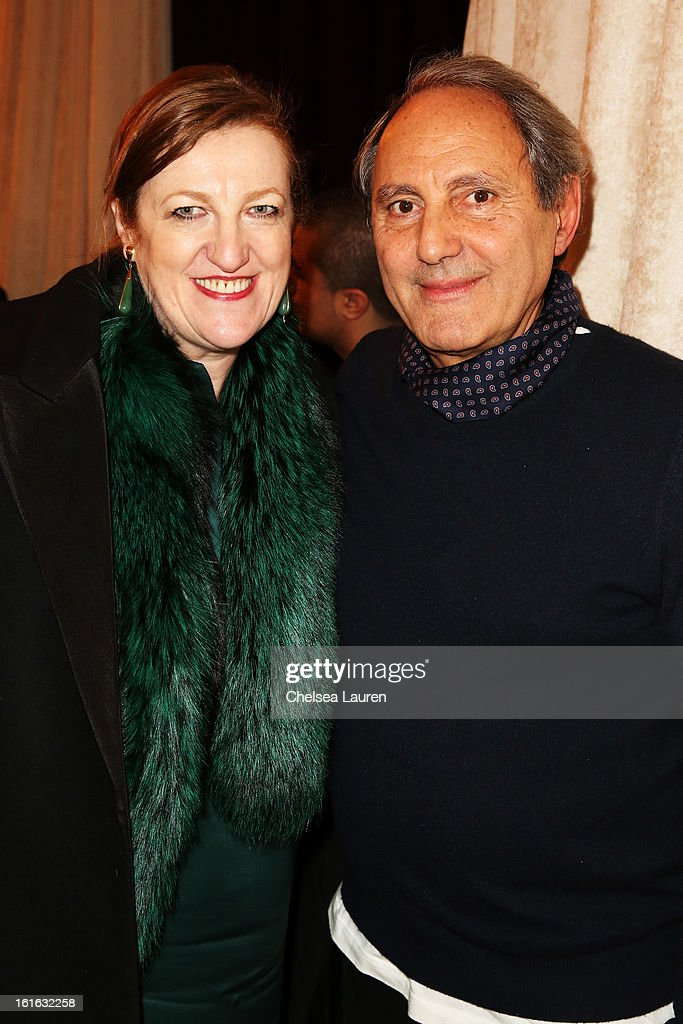 Owner and Creative Director Serge Azria and <a gi-track='captionPersonalityLinkClicked' href=/galleries/search?phrase=Glenda+Bailey&family=editorial&specificpeople=213660 ng-click='$event.stopPropagation()'>Glenda Bailey</a> attend the Joie Fall 2013 fashion show presentation during Mercedes-Benz Fashion Week at Center 548 on February 13, 2013 in New York City.