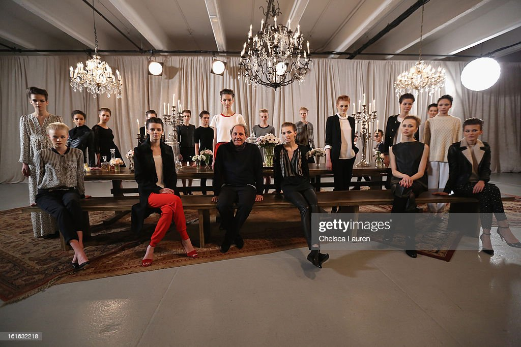 Owner and Creative Director Serge Azria (C) poses with models at the Joie Fall 2013 fashion show presentation during Mercedes-Benz Fashion Week at Center 548 on February 13, 2013 in New York City.