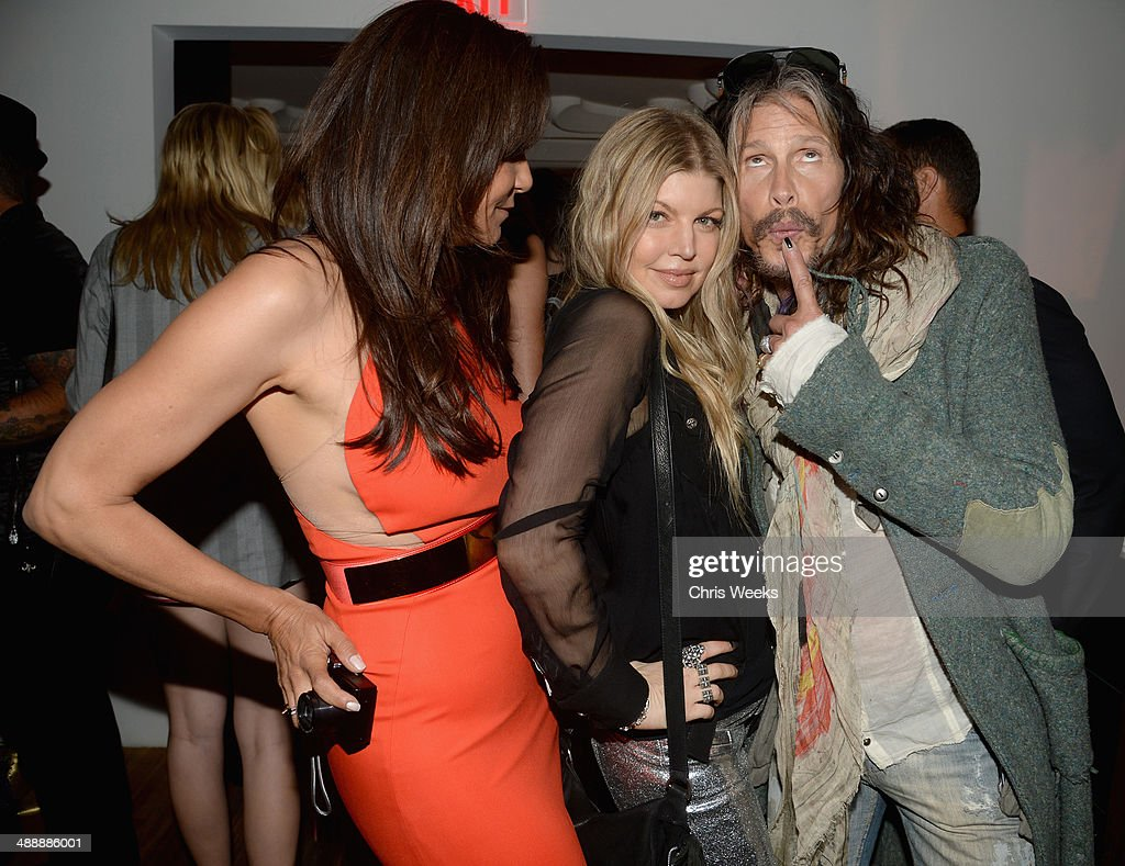 Owner and designer of Chrome Hearts Laurie Lynn Stark, singer Fergie Duhamel and musician Steven Tyler attend Chrome Hearts & Kate Hudson Host Garden Party To Celebrate Collaboration at Chrome Hearts on May 8, 2014 in Los Angeles, California.