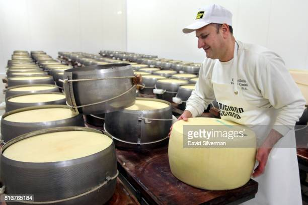 Owner and head cheesemaker Claudio flips a twodayold ParmigianoReggiano cheese before replacing its perforated steel molds which squeeze excess water...
