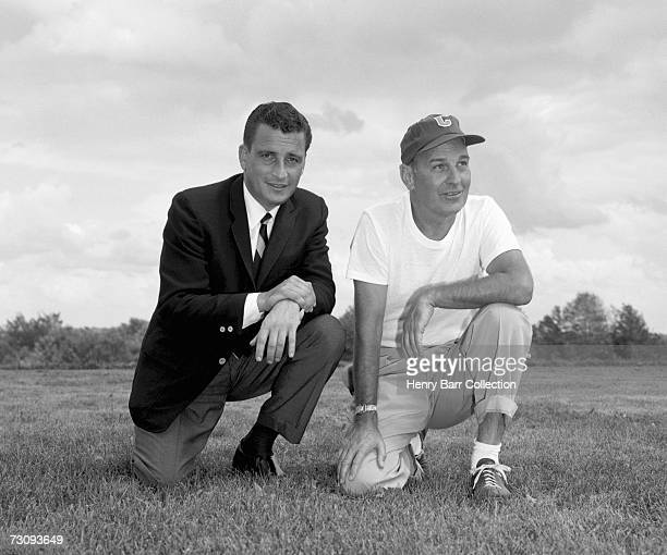 Owner Art Modell and head coach Paul Brown of the Cleveland Browns pose for a portrait during training camp in July 1962 at Hiram College in Hiram...