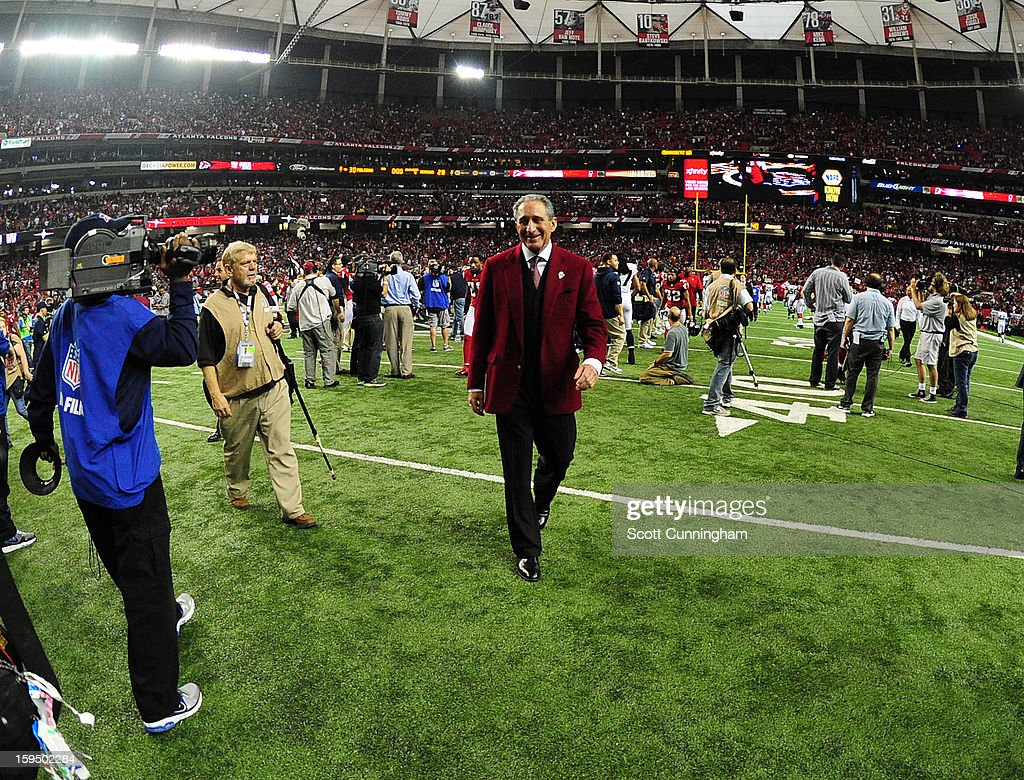 Owner Arthur Blank of the Atlanta Falcons celebrates after the NFC Divisional Playoff Game against the Seattle Seahawks at the Georgia Dome on January 13, 2013 in Atlanta, Georgia