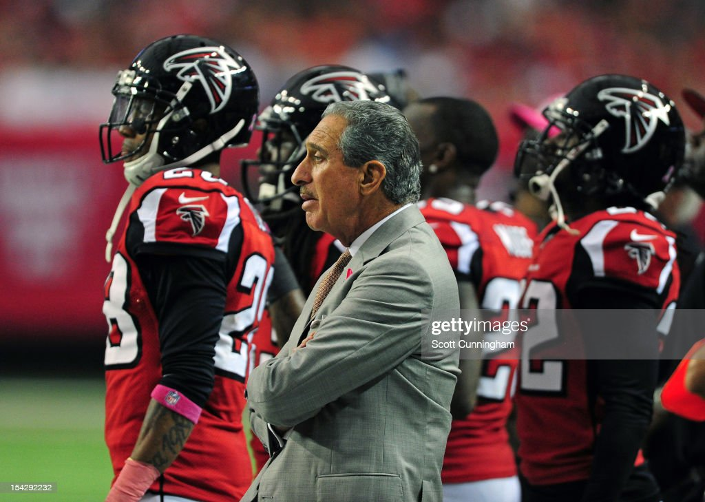 Owner Arthur Blank of the Atlanta Falcons watches the action against the Oakland Raiders at the Georgia Dome on October 14 2012 in Atlanta Georgia