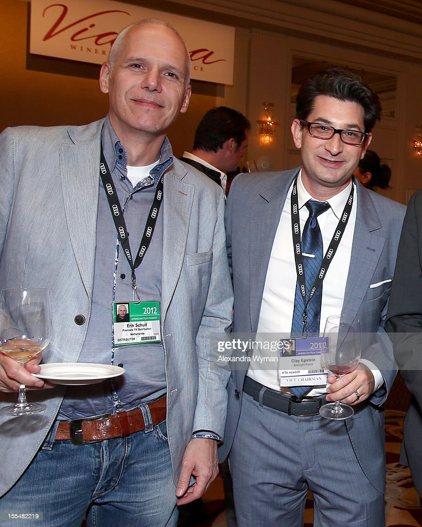 Owner at Premiere TV Distribution Erik Schuit (L) and Vice President, Sales and Acquisitions at Arclight Films Clay Epstein attend the IFTA California Wine Tasting event during the American Film Market at the Fairmont Miramar Hotel on November 3, 2012 in Santa Monica, California.