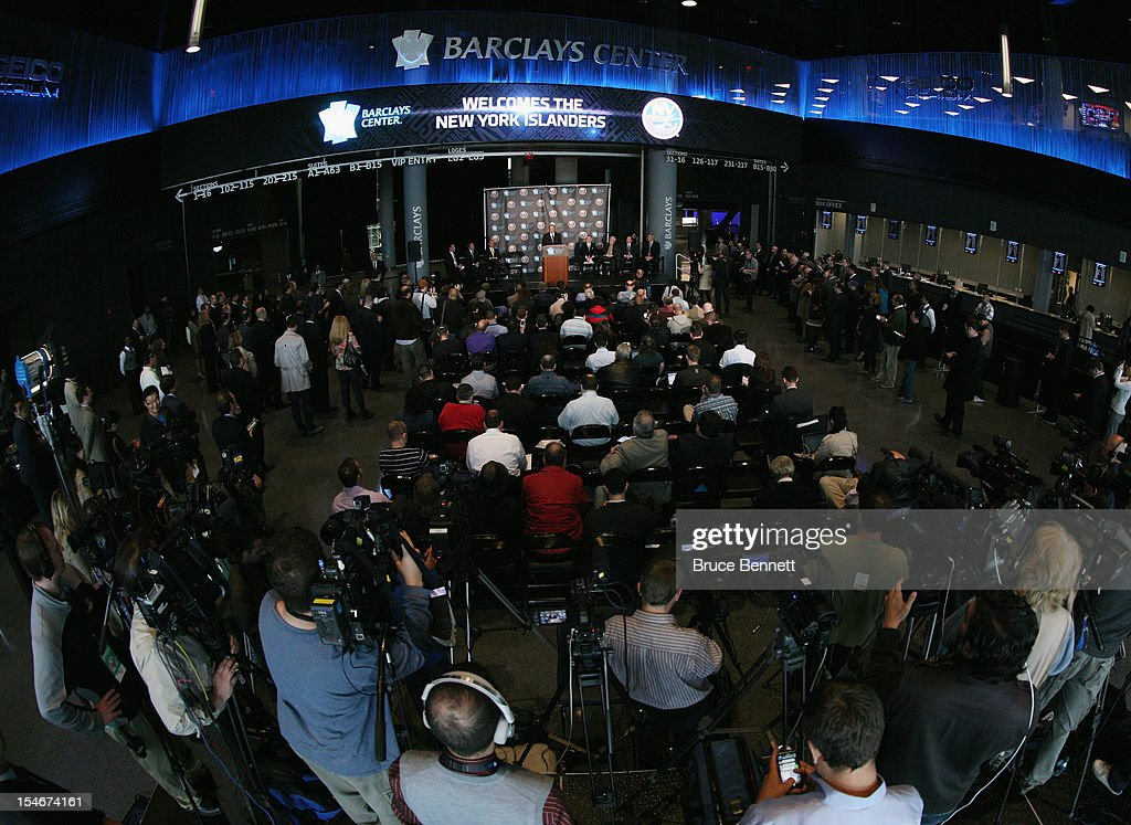 Owner Bruce Ratner of the Brooklyn Nets speaks with the media during the announcement of the New York Islanders move to Brooklyn in 2015 at the Barclays Center on October 24, 2012 in the Brooklyn borough of New York City.