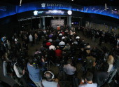 Owner Bruce Ratner of the Brooklyn Nets speaks with the media during the announcement of the New York Islanders move to Brooklyn in 2015 at the...