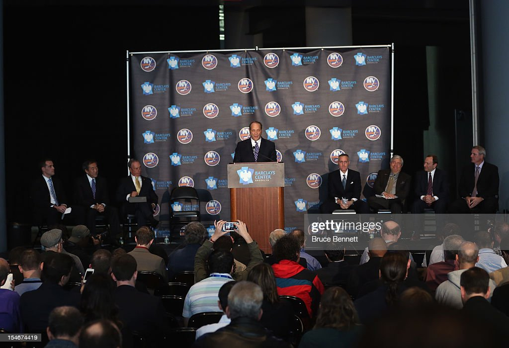 Owner Bruce Ratner of the Brooklyn Nets welcomes the New York Islanders to Brooklyn after the announcement of the franchises relocation in 2015 at a press conference at the Barclays Center on October 24, 2012 in the Brooklyn borough of New York City.