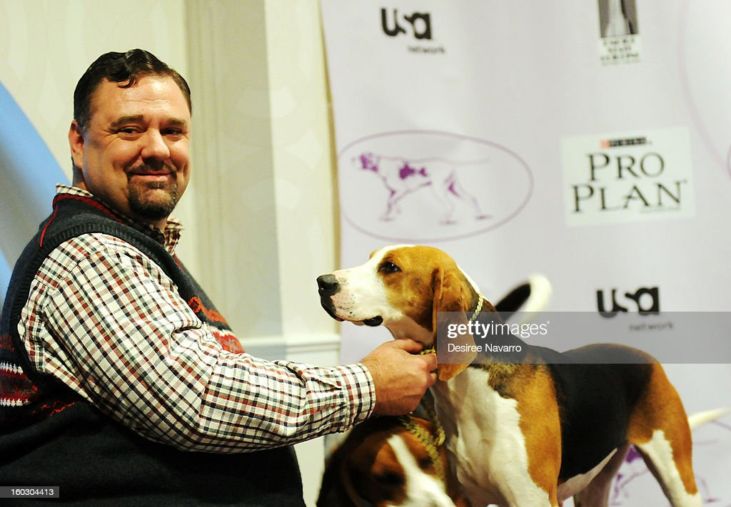 Owner Curt Willis and his Treeing Walker Coonhound dog 'Tank' attend The Westminster Kennel Club 137th Annual Dog Show - Press Conference at Affinia on January 28, 2013 in New York City.
