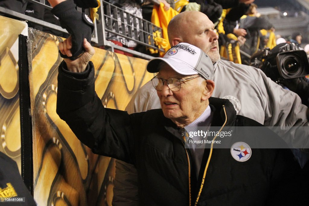 Owner <a gi-track='captionPersonalityLinkClicked' href=/galleries/search?phrase=Dan+Rooney&family=editorial&specificpeople=725695 ng-click='$event.stopPropagation()'>Dan Rooney</a> of the Pittsburgh Steelers celebrates their 24 to 19 win over the New York Jets in the 2011 AFC Championship game at Heinz Field on January 23, 2011 in Pittsburgh, Pennsylvania.
