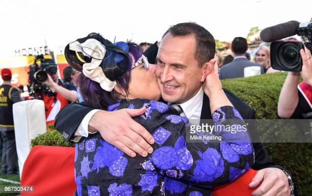 Owner Debbie Kepitis kisses Chris Waller after Winx won the Ladbrokes Cox Plate at Moonee Valley Racecourse on October 28 2017 in Moonee Ponds...