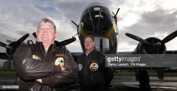 Owner Don Brooks and pilot Ray Fowler with Liberty Belle one of the few World War II B17 planes still flying lands at Prestwick Airport in Ayrshire