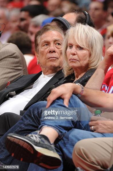 Owner Donald Sterling of the Los Angeles Clippers and his wife Shelly look on during a game against the Memphis Grizzlies in Game Three of the...