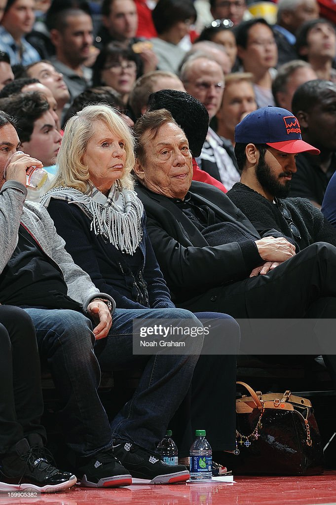 Owner Donald Sterling of the Los Angeles Clippers and his wife Shelly Sterling look on during a game against the Oklahoma City Thunder at Staples Center on January 22, 2013 in Los Angeles, California.