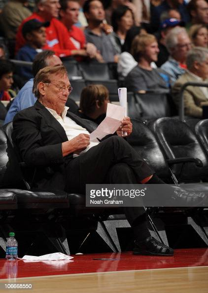 Owner Donald Sterling of the Los Angeles Clippers sits on the sideline during a game against the Oklahoma City Thunder at Staples Center on November...