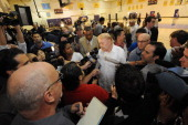 Owner Dr Jerry Buss of the Los Angeles Lakers talks to the media at a press conference introducing Mike Brown as the new head coach of the Los...