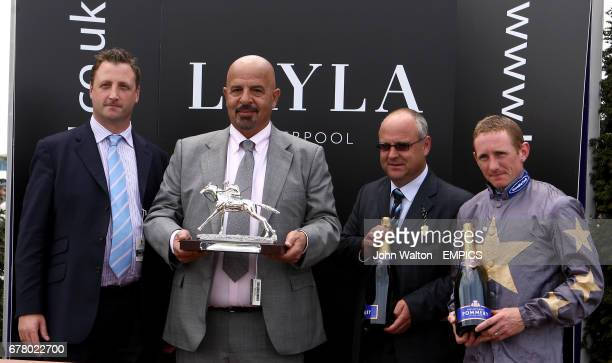 Owner Dr Marwan Koukash trainer Richard Fahey and jockey Paul Hanagan with their trophies after Kyllachy Star won the Layla Hotel Earl Grosvenor...