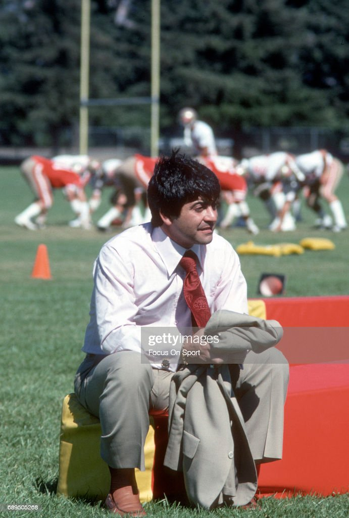 Owner Ed DeBartolo of the San Francisco 49ers looks on during a practice circa 1978. Walsh coached the 49ers from 1979-88.