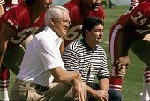 Owner Eddie DeBartolo Jr and head coach Bill Walsh of the San Francisco 49ers poses together for this photo before super bowl XXIII against the...